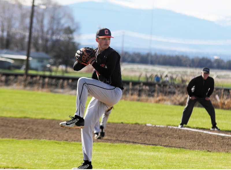 STEELE HAUGEN - Cord Gomes pitched five strong innings to lead Culver to a 13-1 win against Central Linn May  20 during a first round playoff game.
