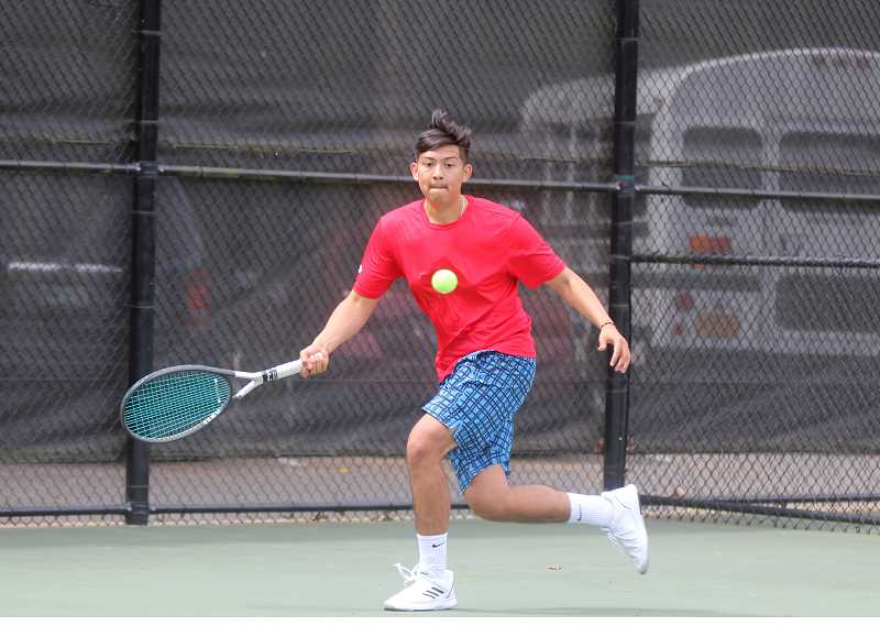 STEELE HAUGEN - Esteban Gomez and doubles partner Tony Giron lost in the consolation seminals match at the 4A/3A/2A/1A state tennis meet at Oregon State University May 17-18.