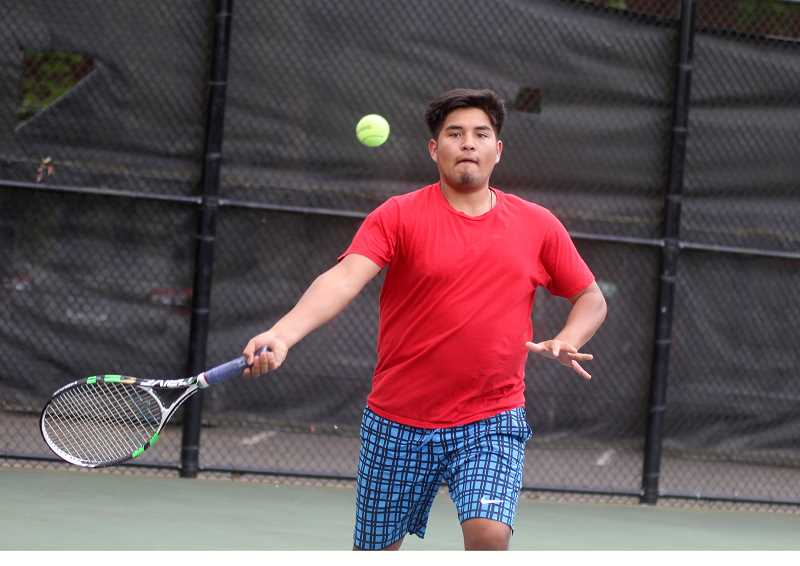 STEELE HAUGEN - Tony Giron and doubles partner Esteban Gomez  lost in the consolation seminals match at the 4A/3A/2A/1A state tennis meet at Oregon State University May 17-18.