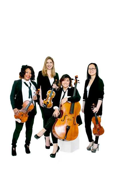 COURTESY PHOTO: CHAMBER MUSIC HILLSBORO - String quartet Mousai Remix, formed by Oregon Symphony Orchestra members Emily Cole on violin, Shin-Young Kwan on violin, Jennifer Arnold on viola, and Marilyn de Oliveira on cello, will perform Thursday, May 23, in Hillsboro.