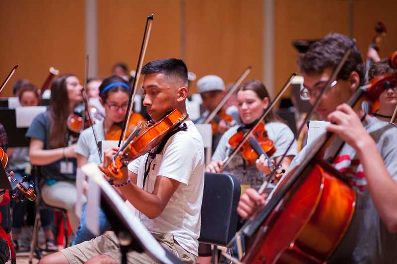 COURTESY PHOTO: PACIFIC UNIVERSITY - High school students from around the state gather at Pacific University's Music in May festival on the Forest Grove campus last year.