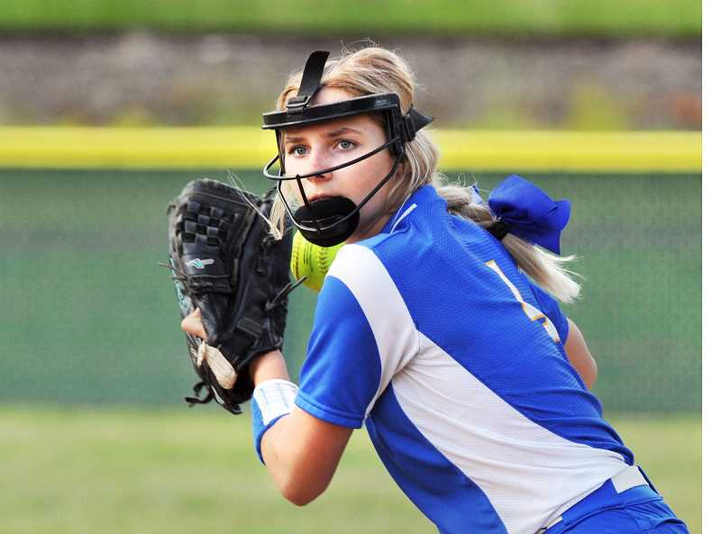 GRAPHIC PHOTO: GARY ALLEN - Freshman shortstop Brooke Poff is among the young contributors on a resilient Newberg softball squad.