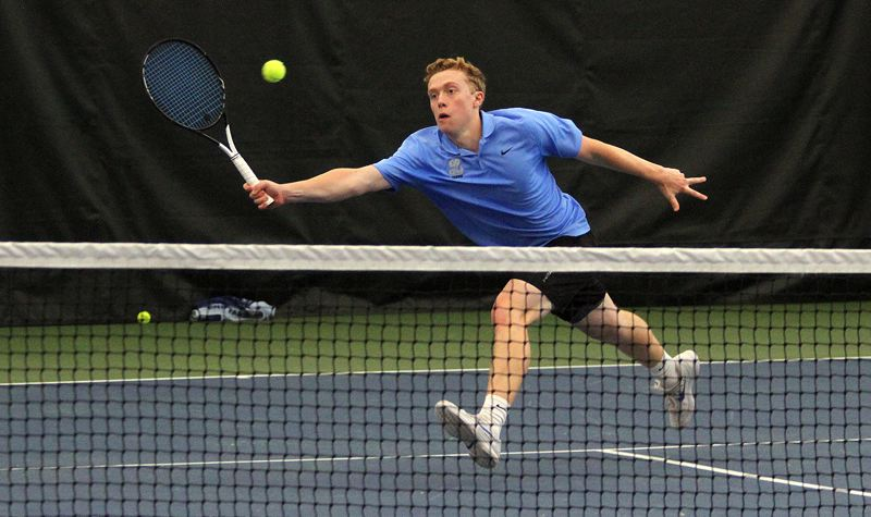 PMG PHOTO: MILES VANCE - Lakeridge senior Jack Ninteman races for a volley during his singles quarterfinal match in the Class 6A state tournament at the Babette Horenstein Tennis Center on Friday, May 17.