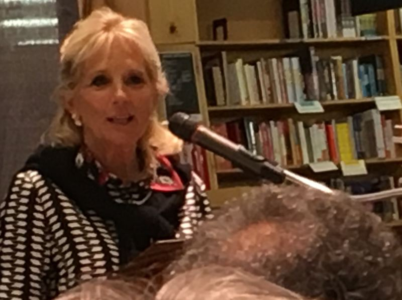PMG PHOTO BY PETER WONG - Jill Biden speaks about her book, 'Where the Light Shines,' at a stop Monday, May 20, at Powell's Cedar Hills Crossing in Beaverton. She is the wife of Joe Biden, the former vice president and current Democratic presidential candidate.