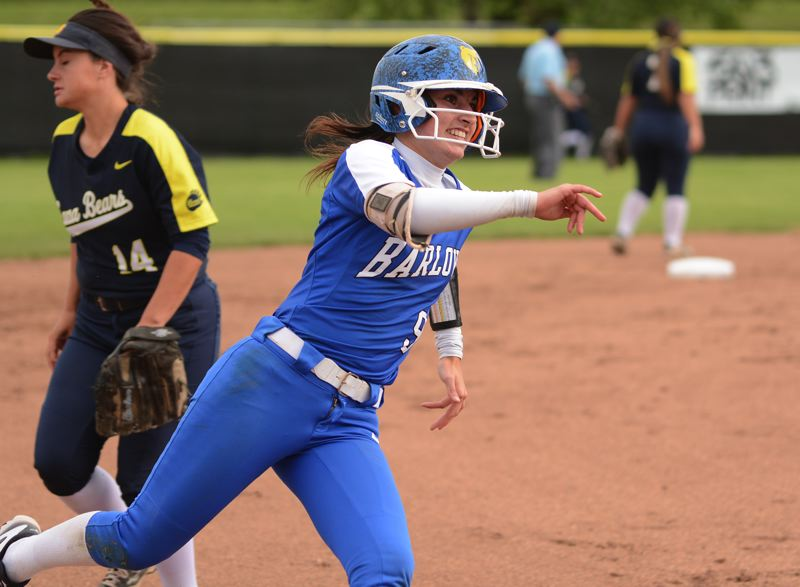 PMG PHOTO: DAVID BALL - Barlows Alexa Bailey rounds third base on her way to scoring the Bruins first run of the game in Mondays 3-0 playoff win over Bend.