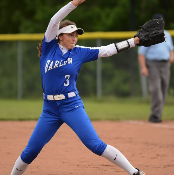 PMG PHOTO: DAVID BALL - Barlows Lexi Geary winds up for a pitch during her shutout effort against Bend in the first round.
