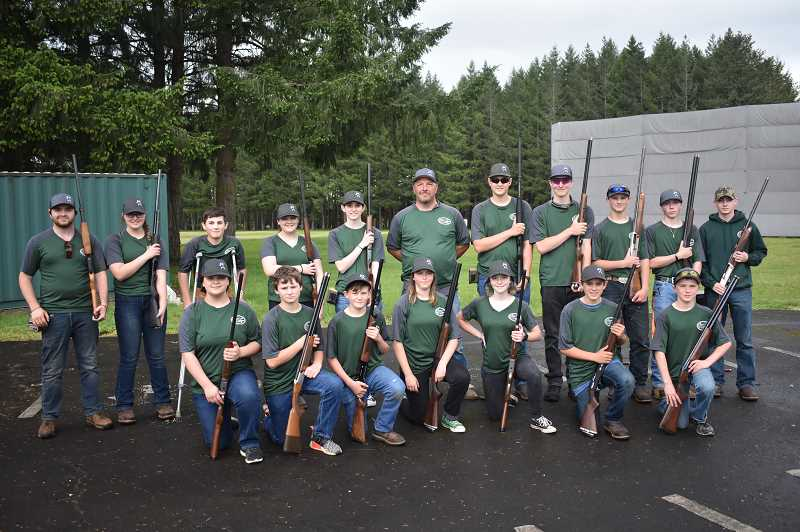 PMG PHOTO: EMILY LINDSTRAND - The Estacada High School clay target team was formed two years ago. This year's group will compete in the state tournament in June.