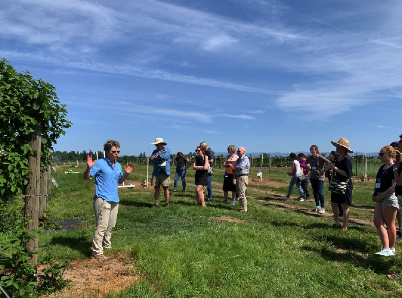 PHOTO: SUE HARRELL - At the North Willamette Research and Extension Center in Canby, Dr. Bernadine C. Strik, Professor of Horticulture at OSU, Extension Berry Crops Specialist & Berry Crops Research Leader, NWREC, speaks to the group about caneberries, that is, any berries grown on canes.