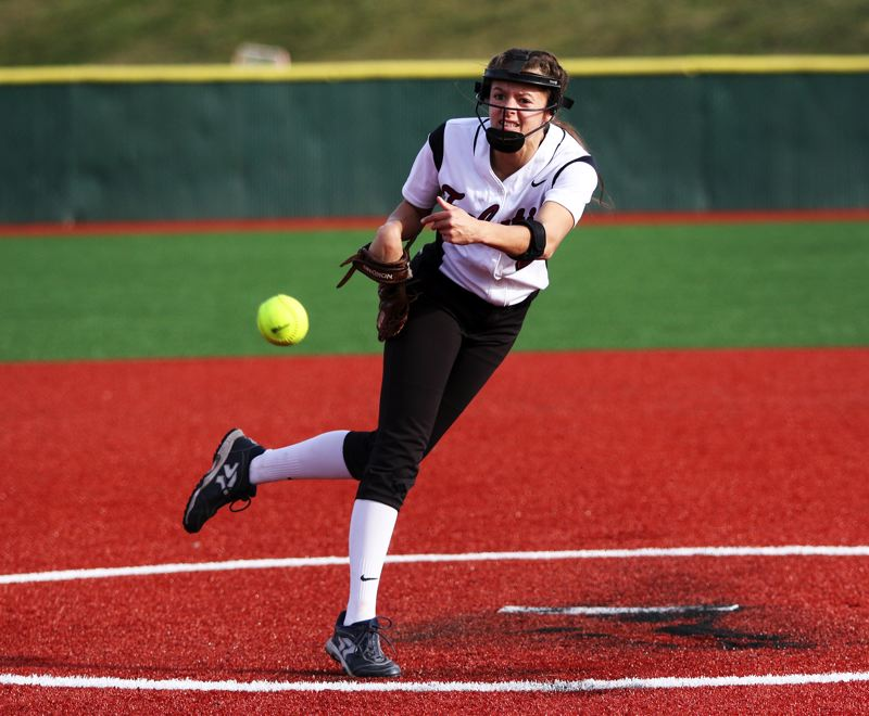 PMG PHOTO: DAN BROOD - Tualatin High School junior Tia Ridings, shown here in a game earlier this season, had 12 strikeouts in the Wolves' 5-0 playoff victory over Madison on Monday.