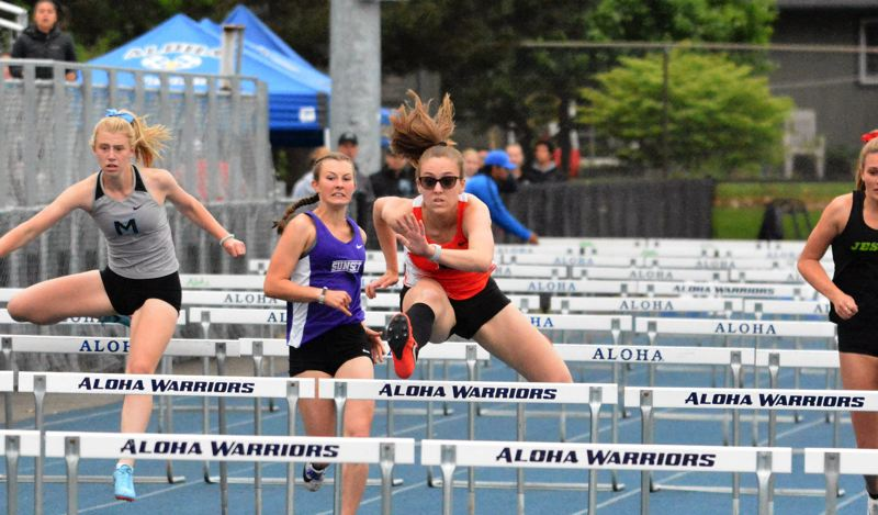 TIMES PHOTO: MATT SINGLEDECKER - Beaverton senior Katarina Bosworth won the 100 meter hurdles at the Metro League district meet last week.