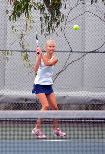 PMG PHOTO: TANNER RUSS - Senior Isabella Gonzalez made it to the state tennis tournament, ultimately coming up short against Ashland freshman Sascha Wells.