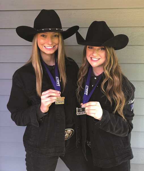COURTESY PHOTO: LORI JERSEY - Wilsonville seniors Sydnie Jersey and Brooklyn James claimed state titles at the state OHSET meet.