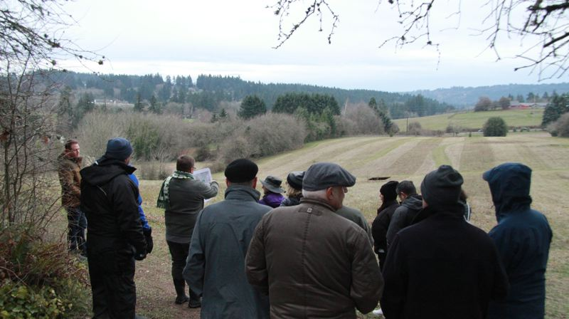 PMG FILE PHOTO - The Lake Oswego Parks & Natural Resources Advisory Board surveys Luscher Farm on a tour of the property back in February.
