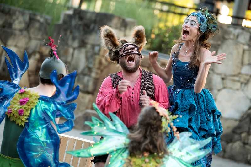 COURTESY PHOTO: EXPERIENCE THEATRE PROJECT - This year's Westside Shakespeare Festival includes immersive events and activities, like dinner with the queen, street vendors with Shakespearean good, street performers and period foods, like meat and vegetable pies. Above, a scene from the 2016 production of 'A Midsummer Night's Dream.'