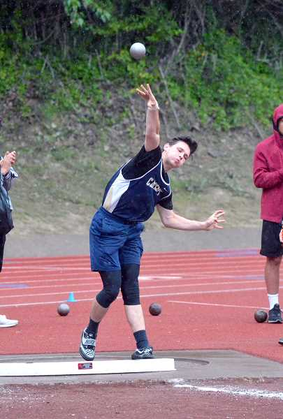 PMG PHOTO: TANNER RUSS - Bryce Ard made the cut for javelin, but also made competed in the shot put.