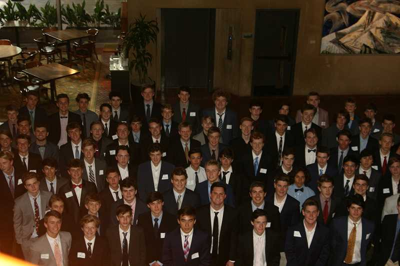 COURTESY PHOTO  - The Lake Oswego chapter of National League of Young Men gathered recently for its annual Compass Dinner, which is an occassion to honor the 105 young men for their hours of service to the community.