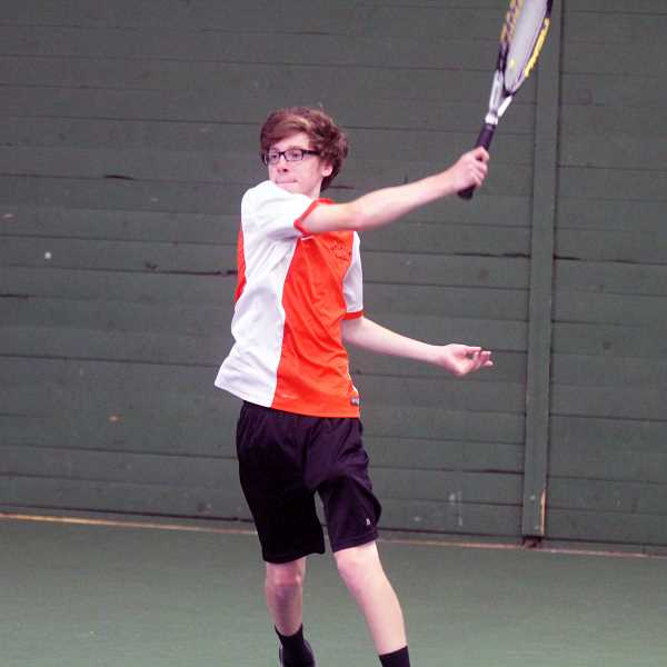 PMG PHOTO: STEELE HAUGEN - Molalla's state doubles team of Mason Simpson (left) and Pietro Elia (right) were ousted from the state tournament in the opening round.
