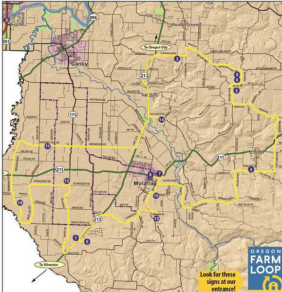 OREGON FARM LOOP - The map shows the stops on this year's Molalla Country Farm Loop.