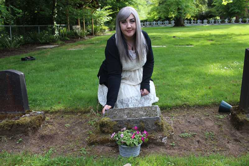 PMG PHOTOS: COREY BUCHANAN - Natalie Wood spent many hours researching the life and death of Mary Niclot, whose grave resides at Holly Names Cemetary.