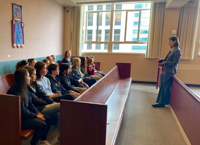 PMG PHOTO: CLAIRE HOLLEY - Judge Karin J. Immergut talks to a group of Lakeridge Middle School students at the Multnomah County Courthouse