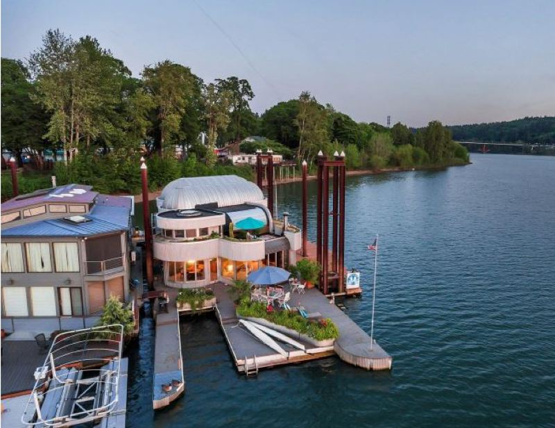 COURTESY PHOTO - 'The Aqua Star' floating home on the Willamette River is quite an attraction, and it's now for sale for just under $1 million. It was featured on Home and Garden's 'Extreme Homes' series.
