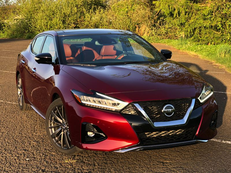 PMG PHOTO: JEFF ZURSCHMEIDE - Nissan has updated the Maxima this year with a fresh new exterior and interior design. It looks great and drives even better, with plenty of power from th 3.5-liter V6.