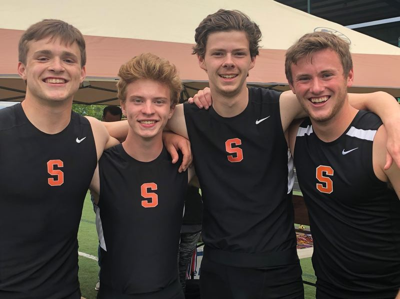 PMG PHOTO: STEVE BRANDON - The boys 4x100-meter relay team of Scappoose celebrates after winning the Northwest Oregon Conference title at Putnam. From left: Connor McNabb, Henry Goldammer, Josh Lull and Tyler Holcomb.
