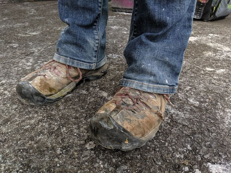 PMG PHOTO: JOSEPH GALLIVAN  - Kristie Reeves wears metal capped Danner boots when laying bricks.