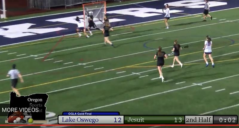A screenshot from the Oregon SportsBeat live stream of the OGLA state championship game shows that two seconds remain (lower right) on the clock when Lake Oswego's Rylee Sutherland scored and apparently tied the contest at 13-13.