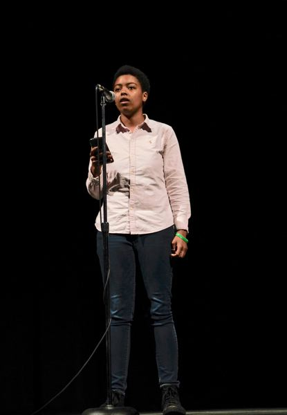 COURTESY PHOTO: LITERARY ARTS - Akaisha Williams, 15, from Centennial High School, performs at the first Verselandia! East Side Slam.