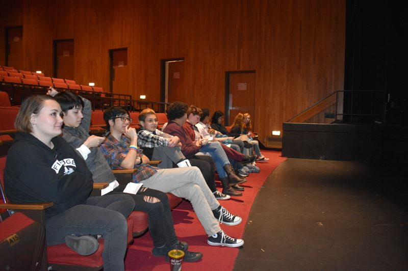 PMG PHOTO: TERESA CARSON - High school poets wait in the Mt. Hood Community College Theater for the Slam to begin.