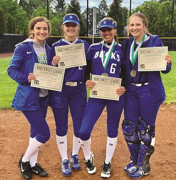 COURTESY PHOTO: ST. PAUL SOFTBALL - The St. Paul softball team's 2019 All-Conference award winners, from left: Rachel Vela,  Destiny Smith, Sadie Smith and Megan Tuck.