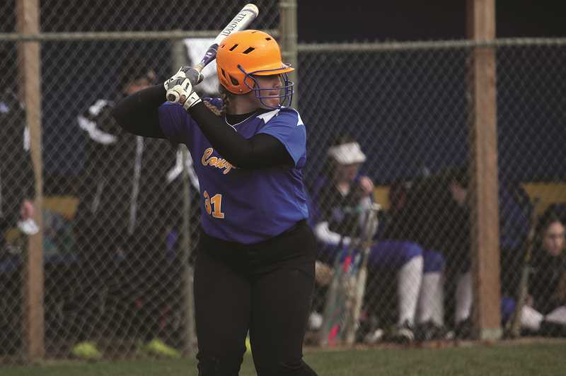 PMG FILE PHOTO: PHIL HAWKINS - Gervais sophomore Alexa Rutledge scored the team's lone run of the game, driven home on a double from teammate Abigail Saalfeld in the fifth inning.