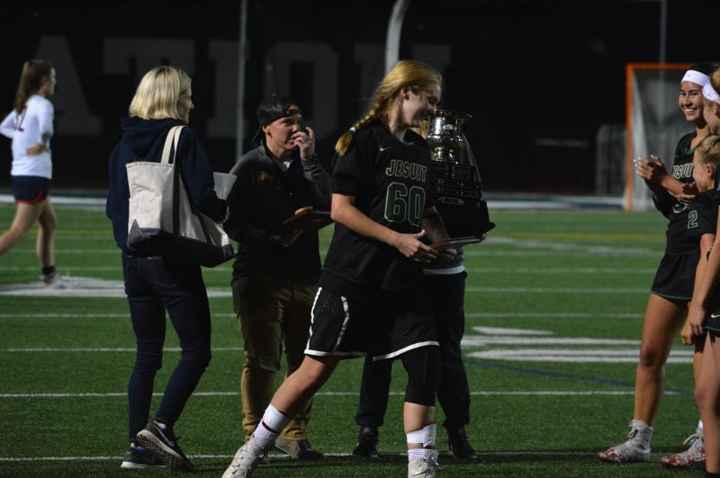 TIMES PHOTO: MATT SINGLEDECKER - Jesuit senior goalie Nina Mahler won Most Valuable Player of the state championship game against Lake Oswego.