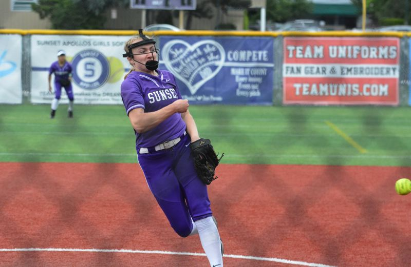TIMES PHOTO: MATT SINGLEDECKER - Sunset junior Grace Kimball allowed just one run and dominated Roseburg in the Class 6A quarterfinals.
