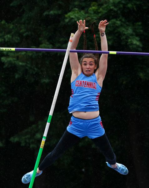 PMG PHOTO: JONATHAN HOUSE - Centennial High's Savannah Schultz wins the Class 6A pole vault during the Oregon School Activities Association track and field championships.