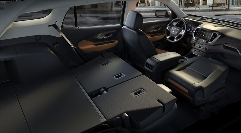 COURTESY GMC - The rear seats of the 2019 GMC Terrain can be folded nearly flat to create a large amount of additional cargo space.