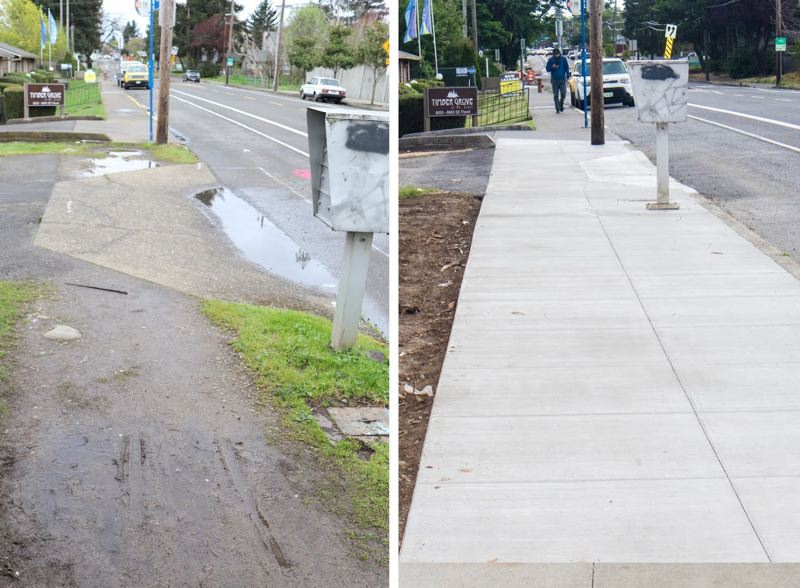 PBOT PHOTOS - The city's 10-cent gas tax has helped pay for 48 blocks of new sidwalks, including this stretch of cement leading to a TriMet bus stop on Southeast Flavel Street in the Lents neighborhood.