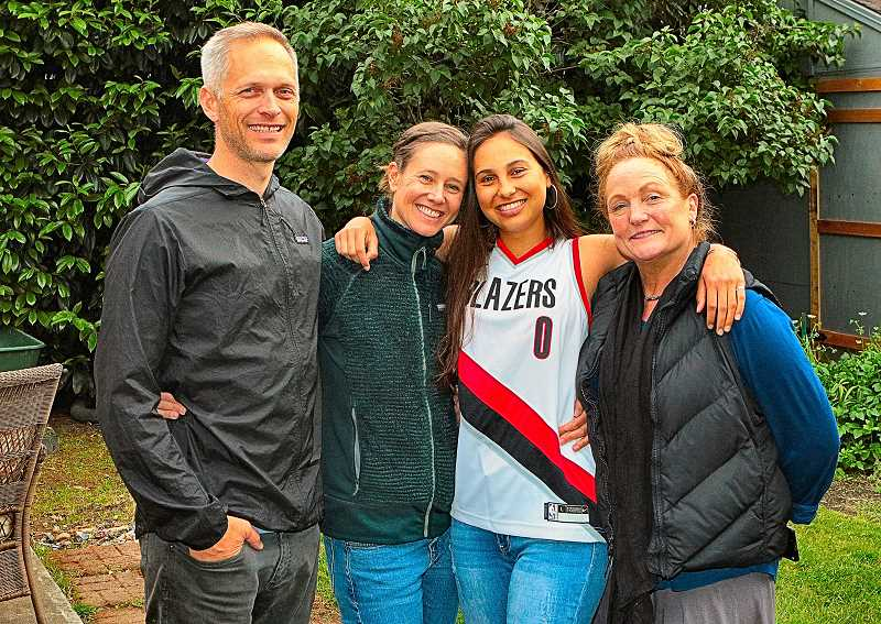 DAVID F. ASHTON - Heres a photo of Agustinas third host family: From left, Donovan Pacholl, Carrie OCallaghan, Argentina exchange student Agustina Sesto, and Agustina's Southeast Portland Rotary Club Mentor, Janeen Rundle.