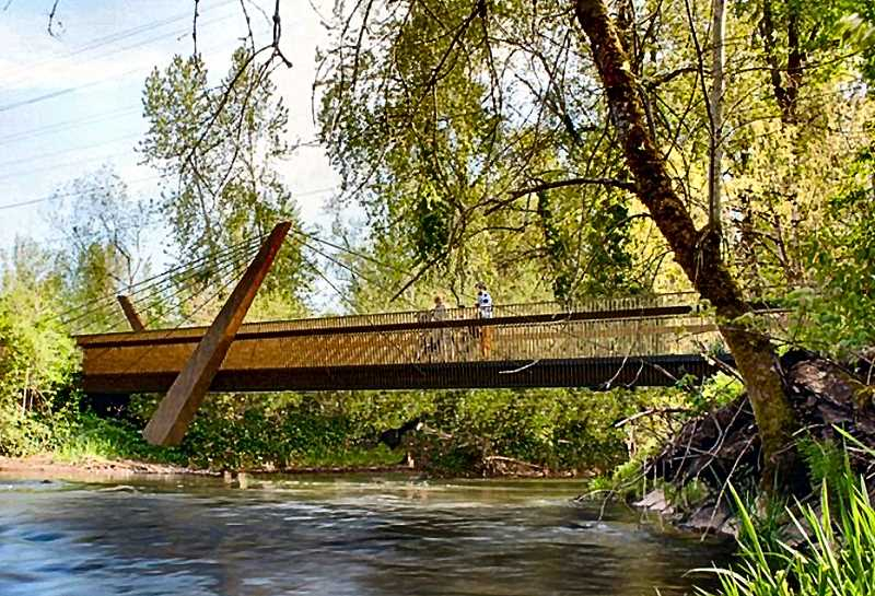 COURTESY OF PP&R - This Portland Parks and Recreation rendering shows the planned new steel-and-concrete span which will replace an old railroad trestle bridge on the Springwatrer Corridor near S.E. 45th.