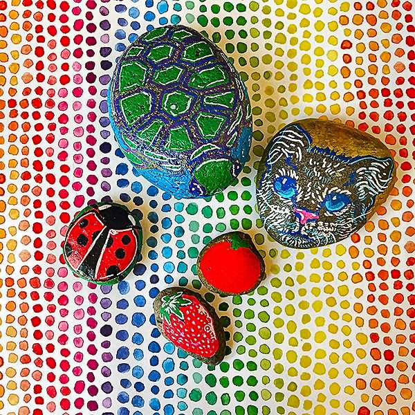 The free Collage craft at the Milwaukie Farmers Market on June 16 is using paint markers to enhance small rocks and pebbles. Its free. Your artistry could result in a painted rock like these.