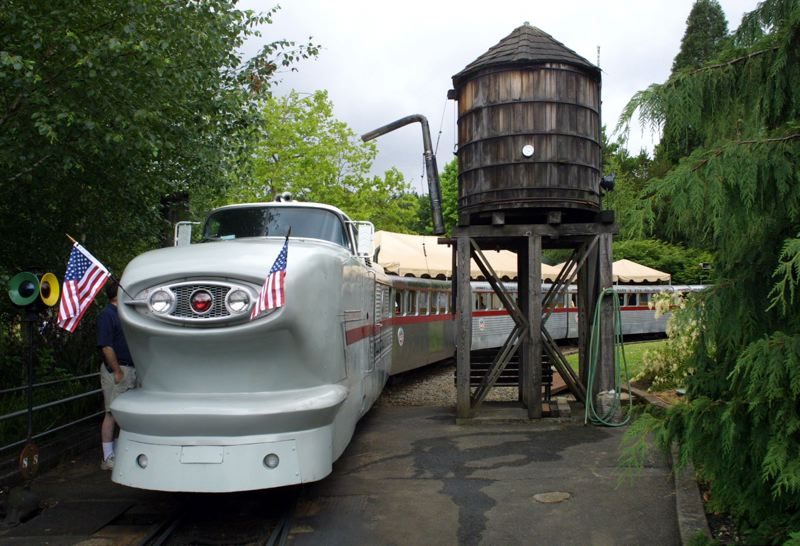 PMG FILE PHOTO - The Oregon Zoo's Railway Zooliner train rolls into a station. A group trying to preserve the full railway route hopes to nominate the route to the National Register of Historic Places.