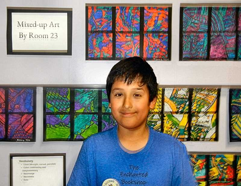 ELIZABETH USSHER GROFF - Jesse Lindley-Sanchez, a Lewis fifth grader, likes the meditative quality of doing abstract colorful line designs. Jesse is also an experienced violinist, who played in this years talent show.