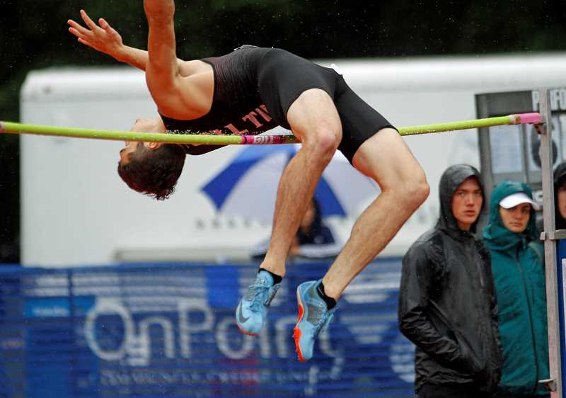 PMG PHOTO: WADE EVANSON - Glencoe's Justin Lazenby competes in the high jump during last week's state track and field championships Saturday, May 25, at Mt. Hood Community College in Gresham.