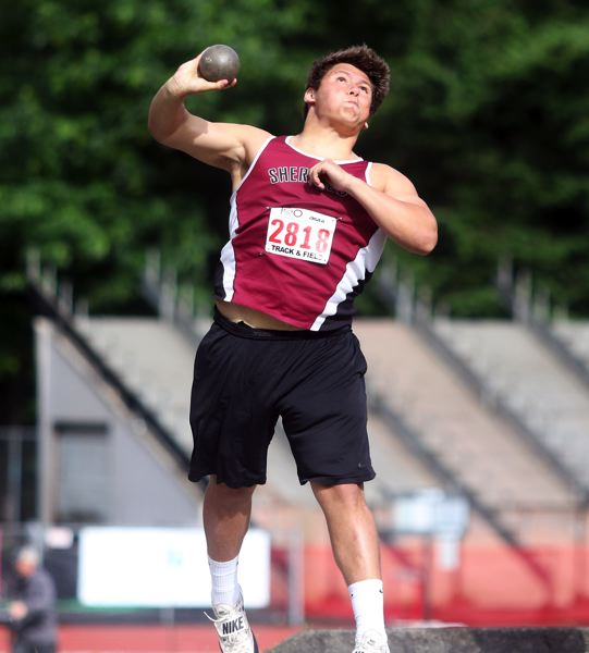 PMG PHOTO: DAN BROOD - Sherwood High School sophomore Bryan Cuthbertson took second place in the shot put event at the Class 6A state track and field championships.