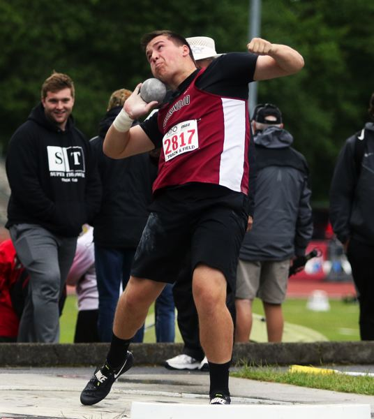 PMG PHOTO: DAN BROOD - Sherwood High School sophomore Noah Culbertson took third place in the shot put event at the Class 6A state track and field championships.