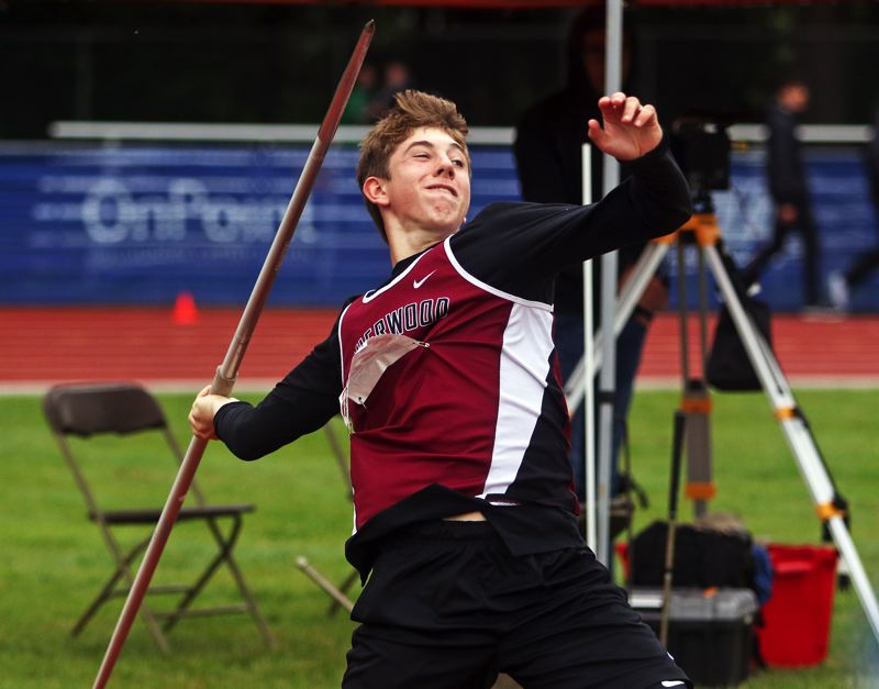 PMG PHOTO: DAN BROOD - Sherwood High School sophomore Asher Krauel took seventh place in the javelin event at the Class 6A state track and field championships.
