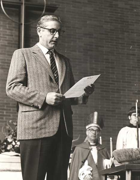 DONATED PHOTO: SAINT BARNABAS - In March of 1972 then-State Senator Vic Atiyeh announced that the mortgage on Saint Barnabas Episcopal Church had been paid off. Seated behind Atiyeh on the altar is Bishop Gross. Atiyeh was preparing to run for Oregon Governor against Democrat Bob Straub in 1974, an election which he lost.