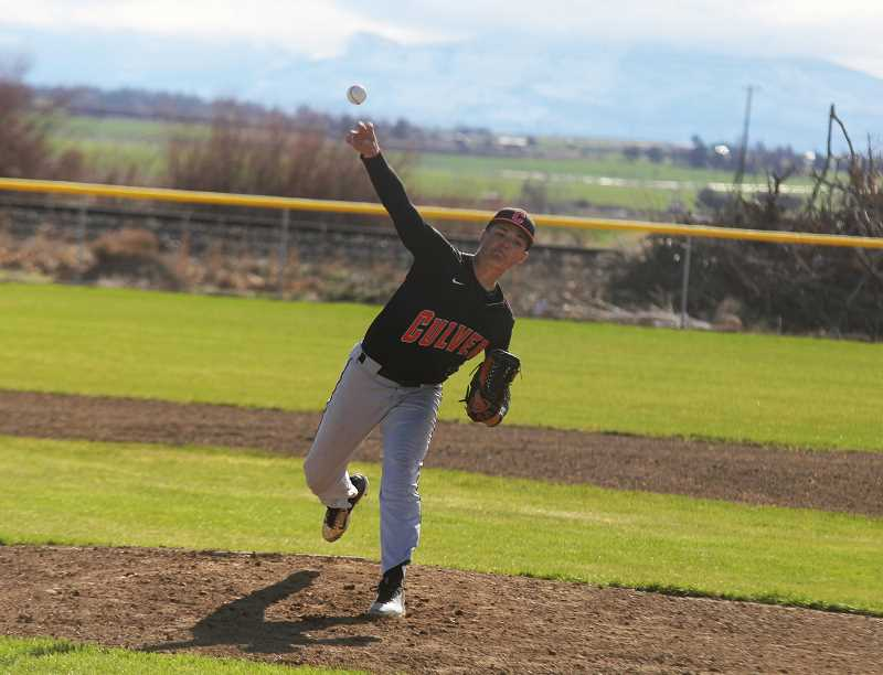 STEELE HAUGEN - Cord Gomes pitched a shutout through the first five innings of the Bulldogs state playoff game against Central Linn. Culver beat the Cobras 13-1 May 20.