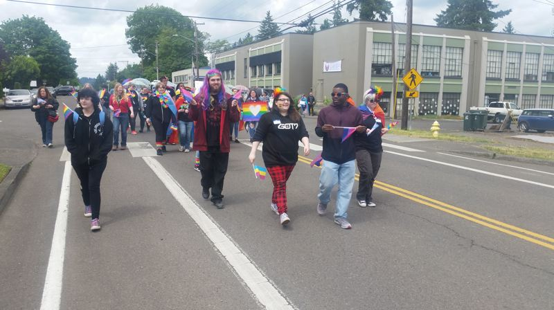 PMG PHOTO: RAYMOND RENDLEMAN - Students leave from New Urban High School to kick off a parade celebrating International Day Against Homophobia, Transphobia and Biphobia.